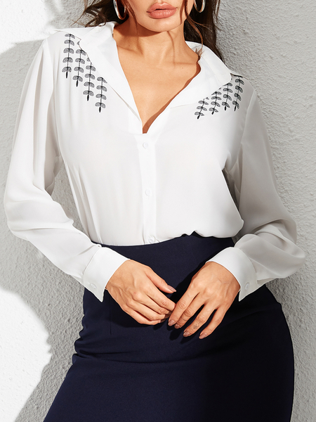YOINS White Button Design leaves Graphic V-neck Blouse