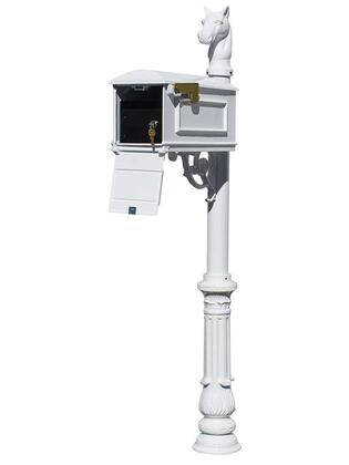 LML-701-WHT Lewiston Equine Mailbox Post System with Locking Insert  ornate base  horsehead finial (No address plates or