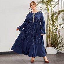 Plus Embroidery Flounce Sleeve Ruffle Hem Dress