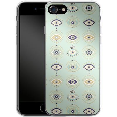 Apple iPhone 7 Silikon Handyhuelle - Evil Eyes Mint von Cat Coquillette