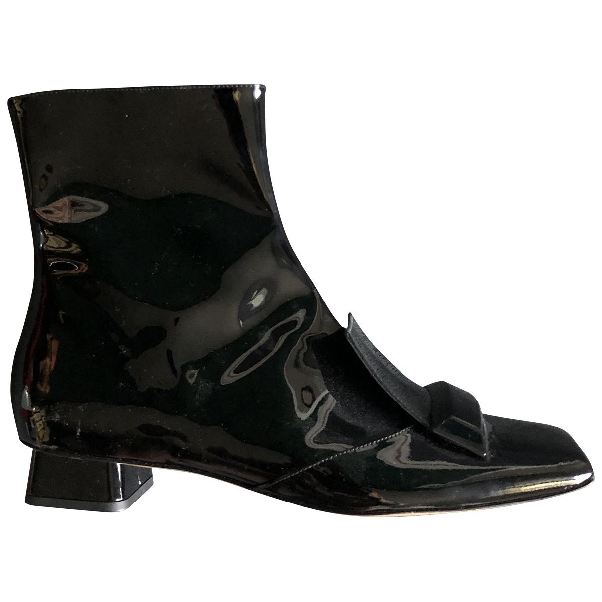 Rayne London - Boots   pour femme en cuir verni - noir