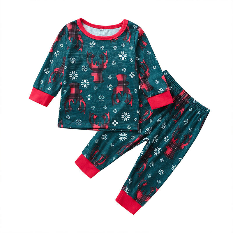Kid's Christmas Print Patchwork Long Sleeve Casual Clothing Set