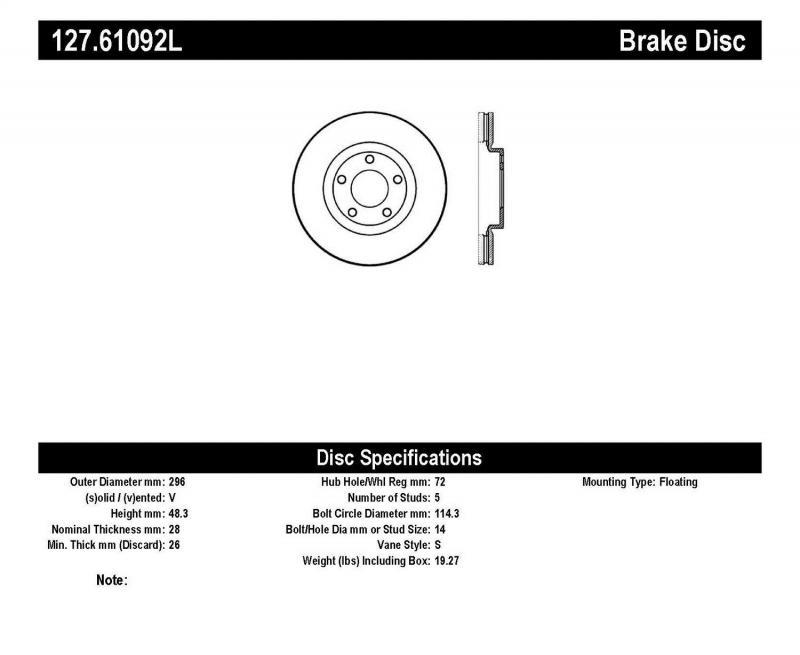 StopTech 127.61092L Sport Drilled/Slotted Brake Rotor; Front Left Front Left