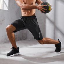 Shorts deportivos de cintura con cordon con estampado de letra