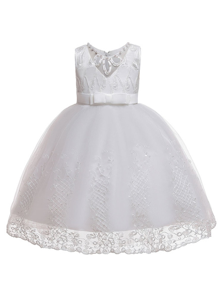 Milanoo Flower Girl Dresses Jewel Neck Tulle Sleeveless Knee-Length Princess Silhouette Kids Pageant Dresses