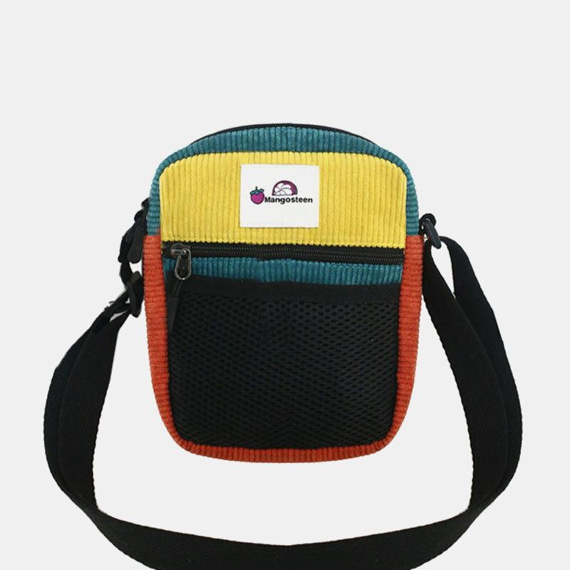 Men Women Vintage Patchwork Corduroy Multi-pocket Crossbody Bag