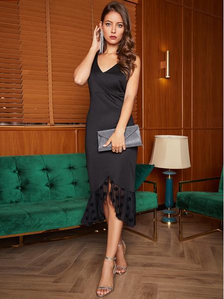 Yoins Black Backless Design V-neck Party Dress