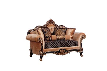 Raffaello Collection Luxury Loveseat  Hand Carved and Handcrafted  Seat Cushions Reversible  in Black Gold