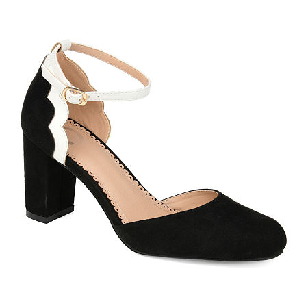 Journee Collection Womens Chandra Pumps Block Heel, 9 Medium, Black