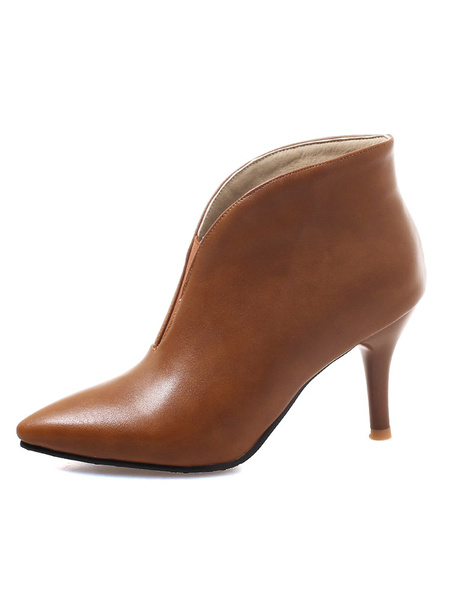 Milanoo Women Ankle Boots Apricot Pointed Toe Slip On Winter Booties