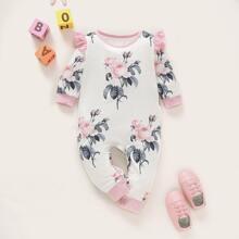 Baby Maedchen Jumpsuit mit grossen Blumen Muster, Kontrast Bindung und Raffung