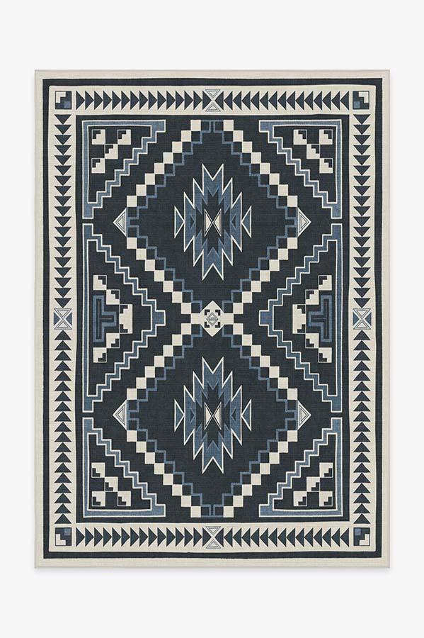 Washable Rug Cover & Pad | Dakotah Ivory Blue Rug | Stain-Resistant | Ruggable | 5'x7'