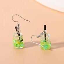 Kleinkind Maedchen Ohrringe mit Obst und Trinkflasche Dekor