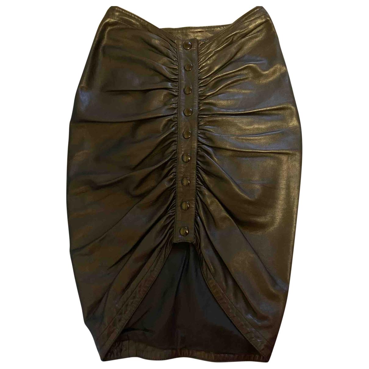 Alaia - Jupe   pour femme en cuir - noir
