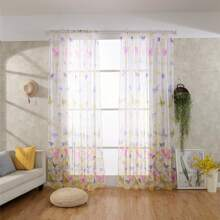 Butterfly Print Single Panel Sheer Curtain