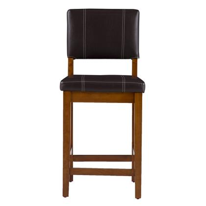 Milano Collection 0210VBRN121-01-KD Counter Height Stool with Footrest Support  Square Seat  Solid Wood Legs  Contemporary Style  Rubberwood Frame