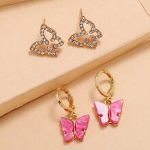 2 Paare Ohrringe Set mit Schmetterling Dekor