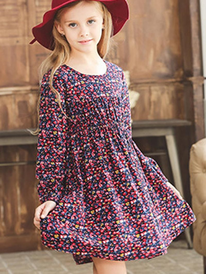 Ericdress Floral Print Thickening Girls Dress