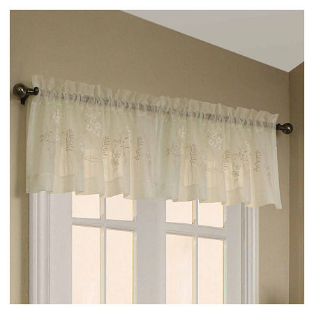 Hydrangea Rod-Pocket Tailored Valance, One Size , White
