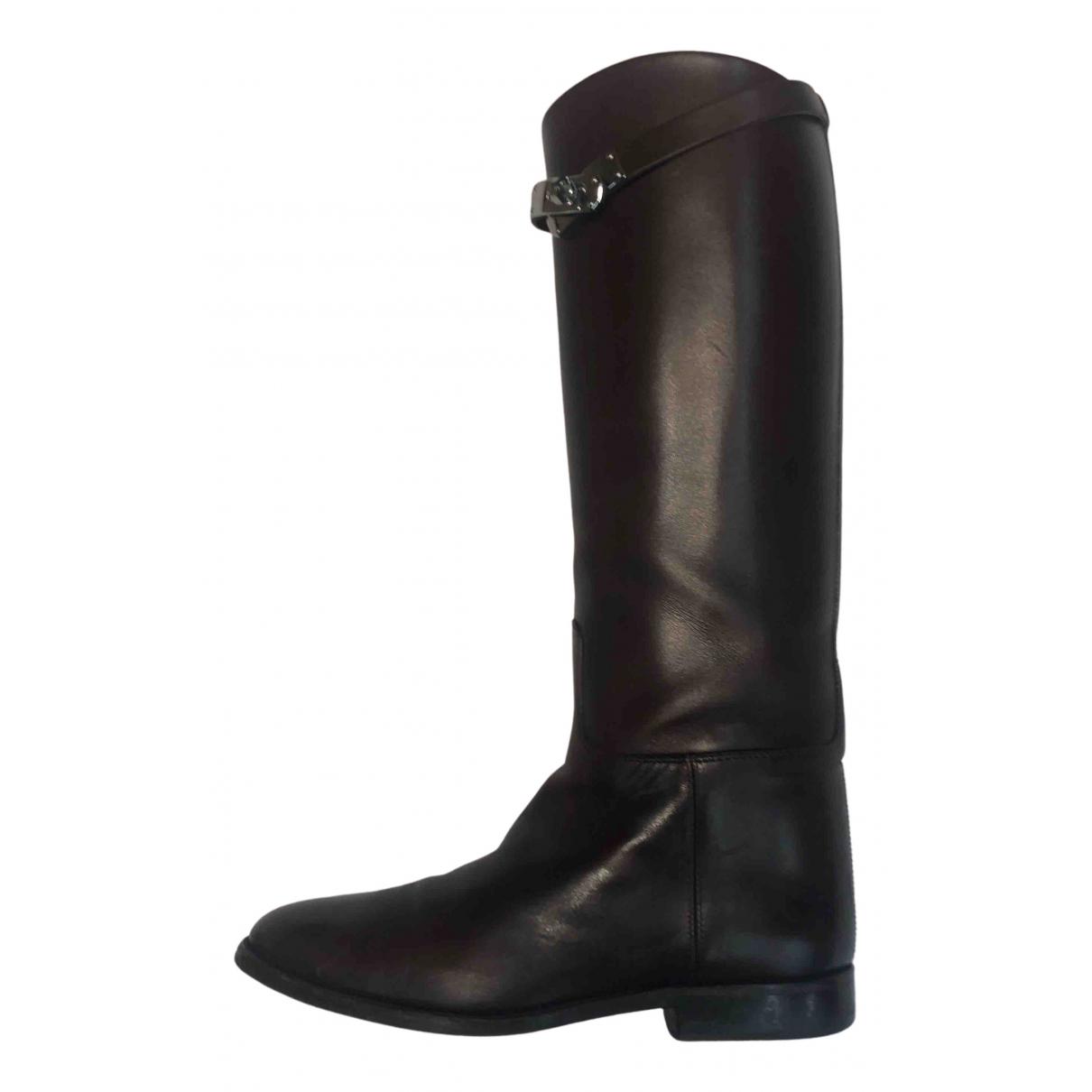 Hermes - Bottes Jumping pour femme en cuir - marron