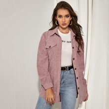 Button Front Belted Cord Coat