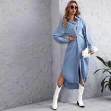 Solid Plicated Front High Low Shirt Dress