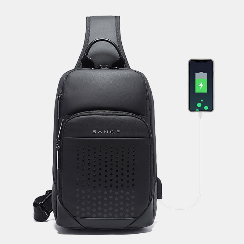 Men Oxford Cycling Bag USB Technology Chest Bag Crossbody Sling Bag