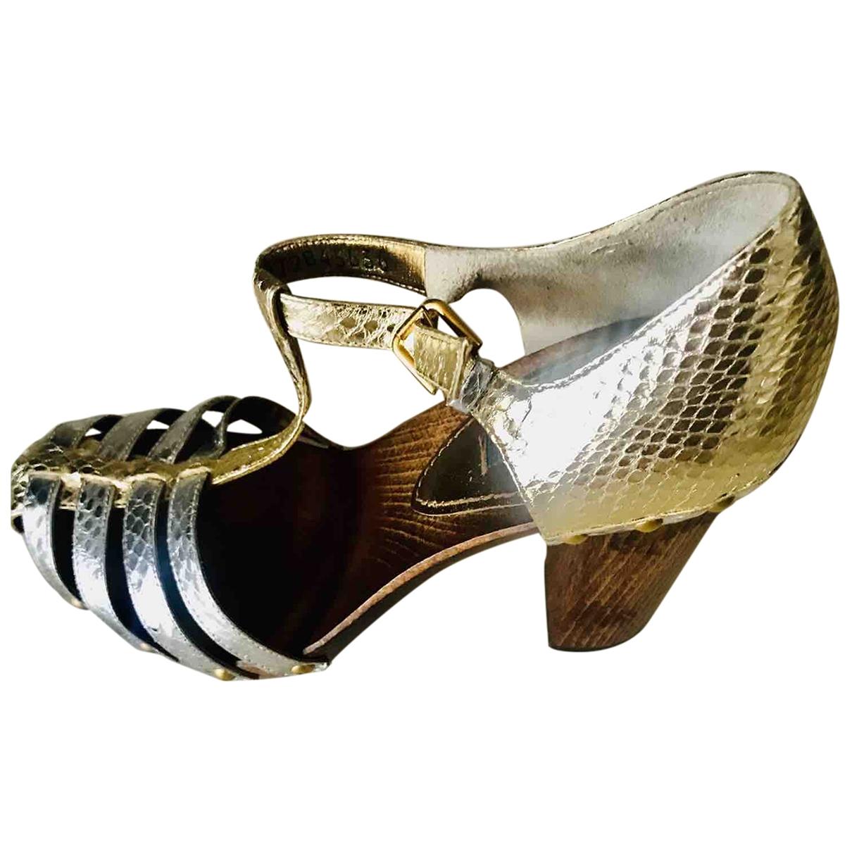 Dolce & Gabbana \N Sandalen in  Metallic Python
