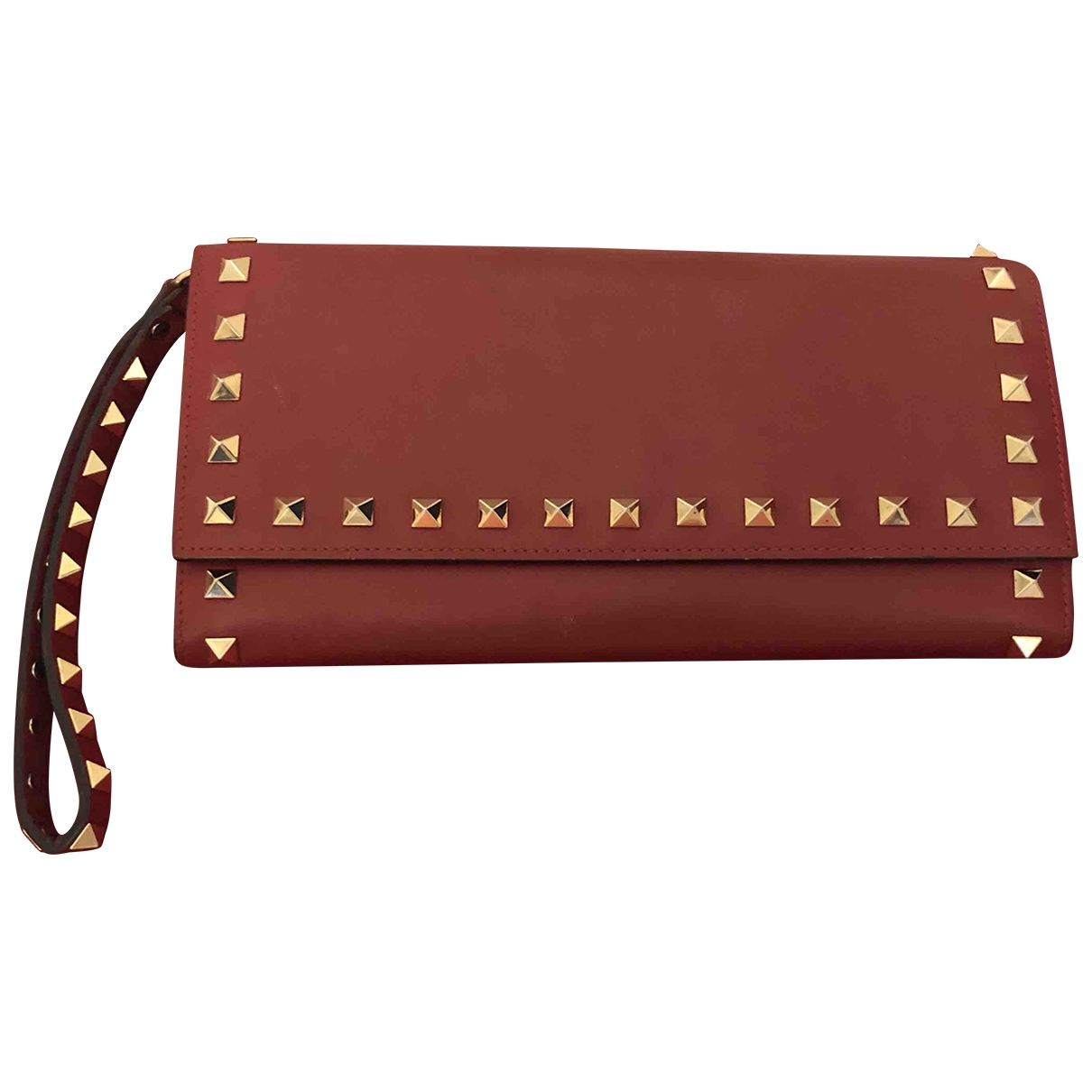 Valentino Garavani - Pochette Rockstud pour femme en cuir - rouge