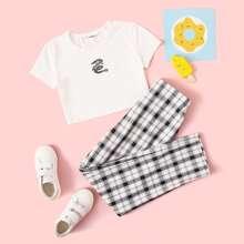 Conjunto de niñas camiseta corta con dragon con pantalones de cuadros