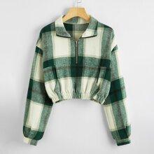 Jacke mit Karo Muster, halber Knopfleiste und sehr tief angesetzter Schulterpartie