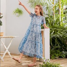 Girls Layered Frill Trim Floral Mesh 2 In 1 Dress