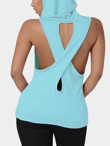 Yoins Casual Cross at Back Sleevless Hoodie Sweatshirt in Blue
