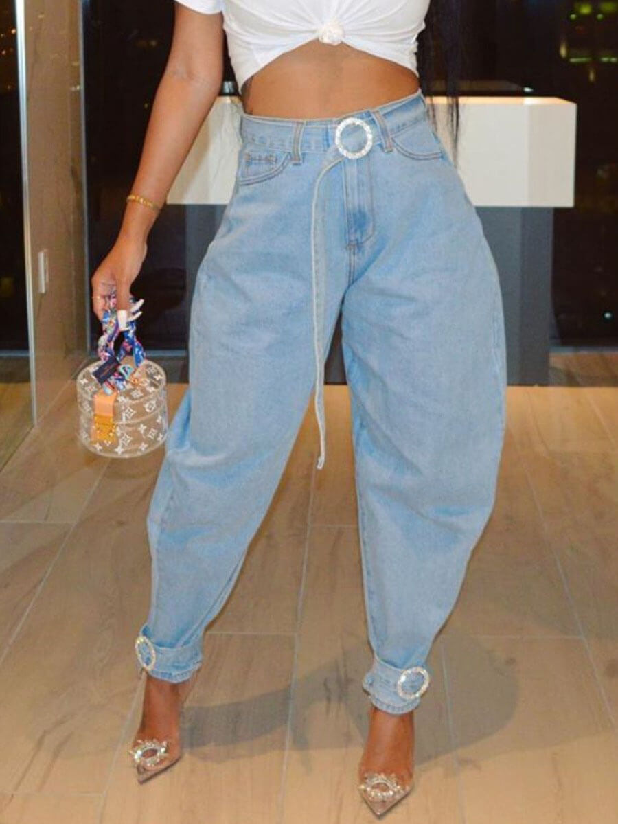 LW Lovely Casual High-waisted Basic Baby Blue Jeans