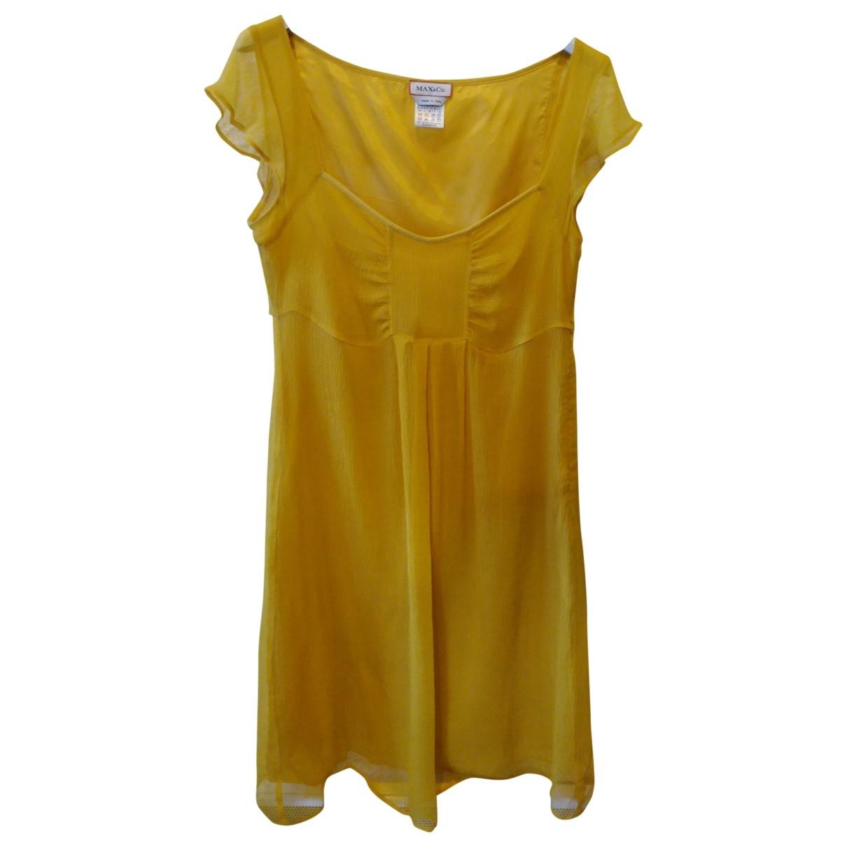 Max & Co - Robe   pour femme en soie - jaune