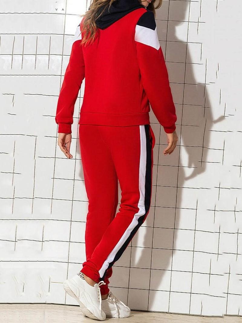 Ericdress Coat And Pencil Pants Sport Color Block Two Piece Sets