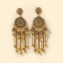Round Ball Tassel Jhumka Drop Earrings