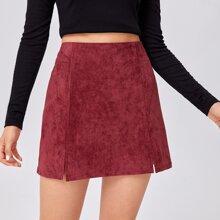 Solid Suede Split Skirt