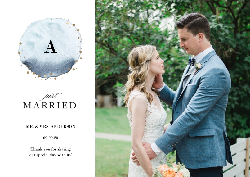 Just Married 5x7 Cards, Standard Cardstock 85lb, Card & Stationery -Wedding Just Married Watercolor Monogram by Tumbalina
