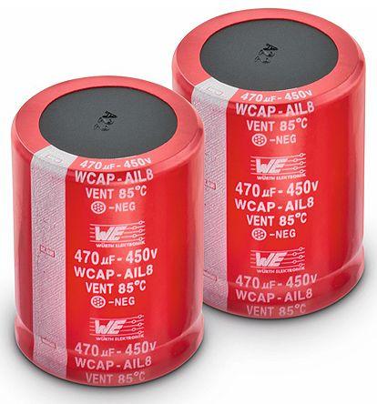 Wurth Elektronik 100μF Electrolytic Capacitor 450V dc, Through Hole - 861101483004 (5)