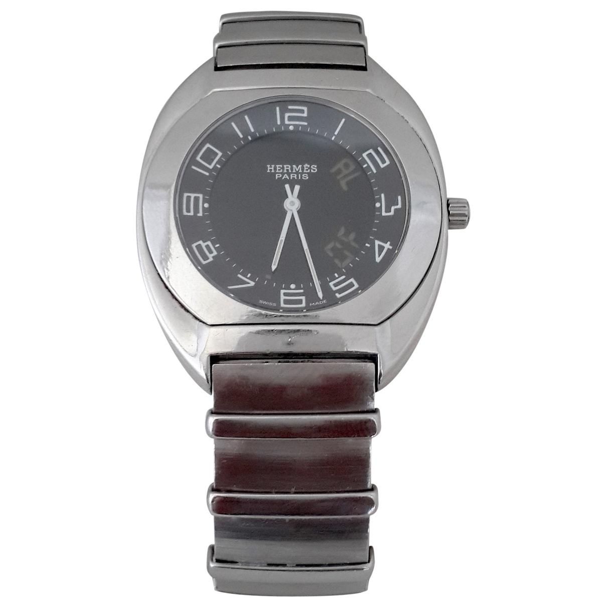 Hermes Espace Uhr in  Schwarz Stahl