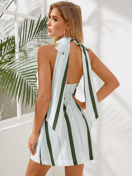 Yoins Green Stripe Halter Neck Mini Dress