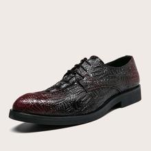 Men Croc Embossed Lace-up Front Dress Shoes