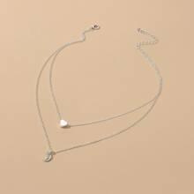 Halskette mit Herzen und Mond Anhaenger