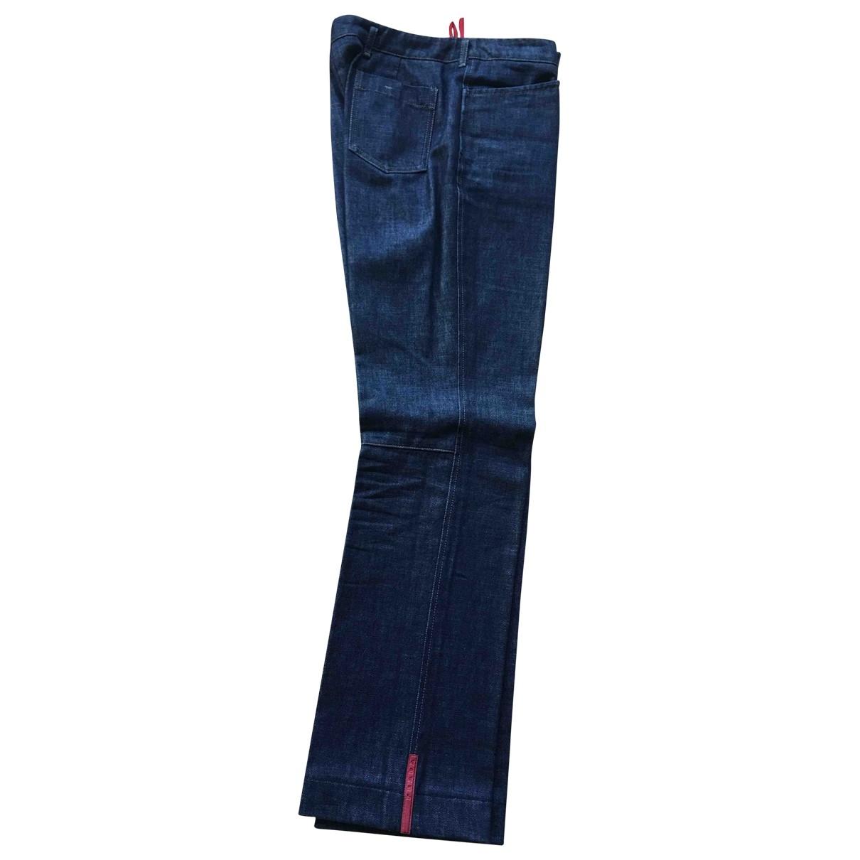 Pantalon en Algodon Azul Prada