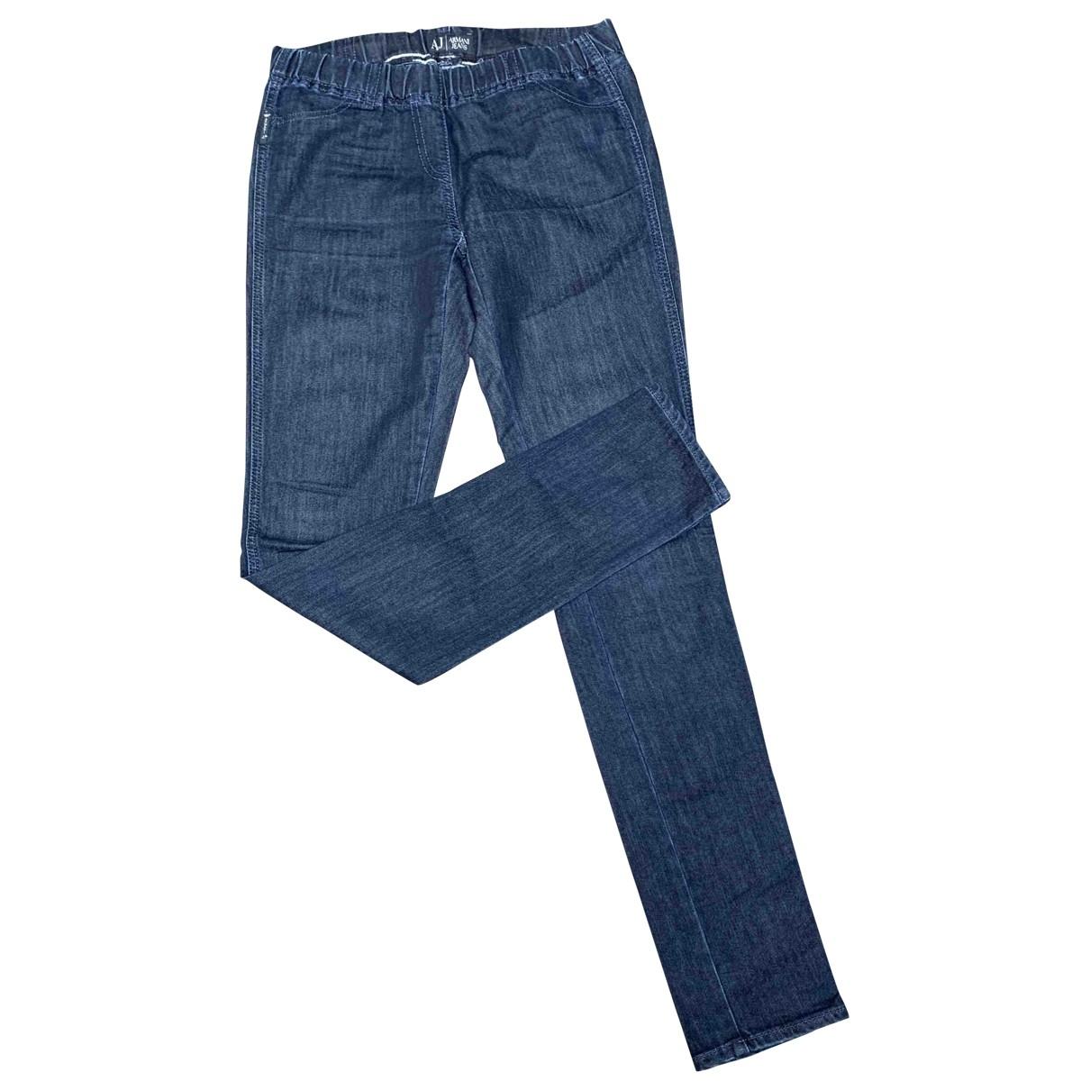 Armani Jeans \N Blue Cotton Trousers for Women 38 IT