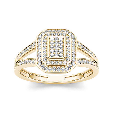 1/4 CT. T.W. Diamond 10K Yellow Gold Engagement Ring, 8 , No Color Family