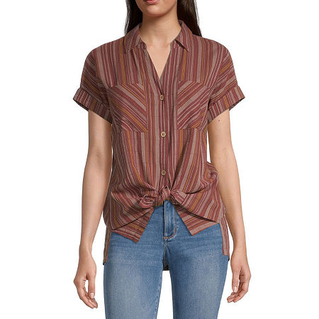 a.n.a-Tall Womens Short Sleeve Regular Fit Button-Down Shirt, Small Tall , Red