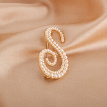 Faux Pearl Beaded Letter Design Brooch