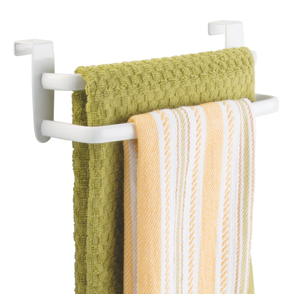 Over Cabinet Door Towel Bar for Kitchen and Bathroom in White, 3.5